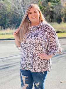 The Tara Leopard Tunic in Ivory/Charcoal