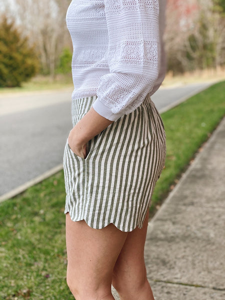 The Aria High Waisted Striped Shorts