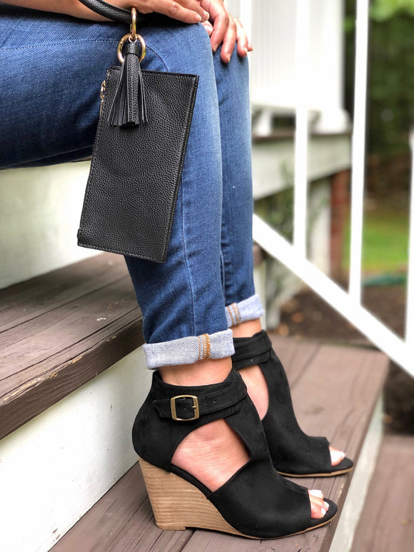 Faux Suede Peep Toe Bootie in Black
