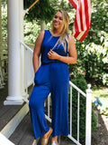 Scoop Back Cropped Jumpsuit With Pockets Blue