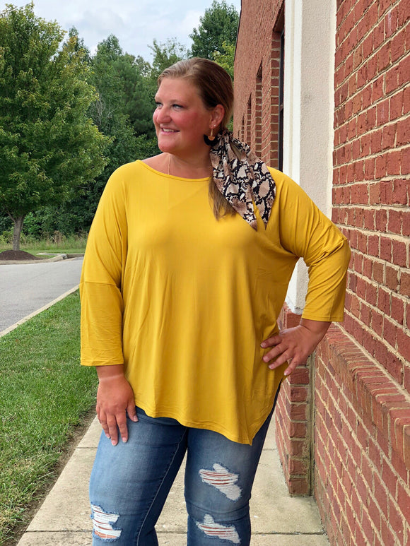 Be Your Best Dolman Top In Mustard