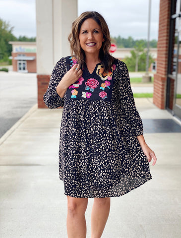 The Bethany Dress in Black/Leopard