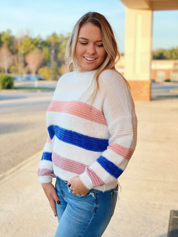The Daisy Striped Sweater in Ivory/Multi