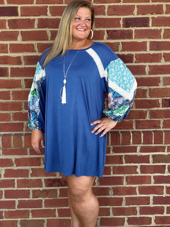 Fall For You Paisley Sleeve Dress In Blue