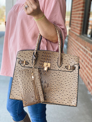 The Renee Faux Crocodile Handbag in Taupe
