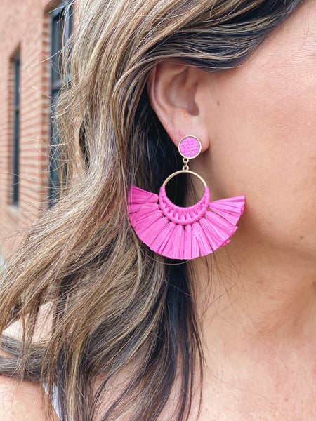 The Irma Fan Tassel Earrings in Fuchsia