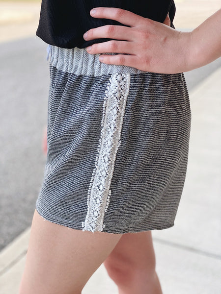 Terri Stripe Shorts with Lace Trim in Charcoal