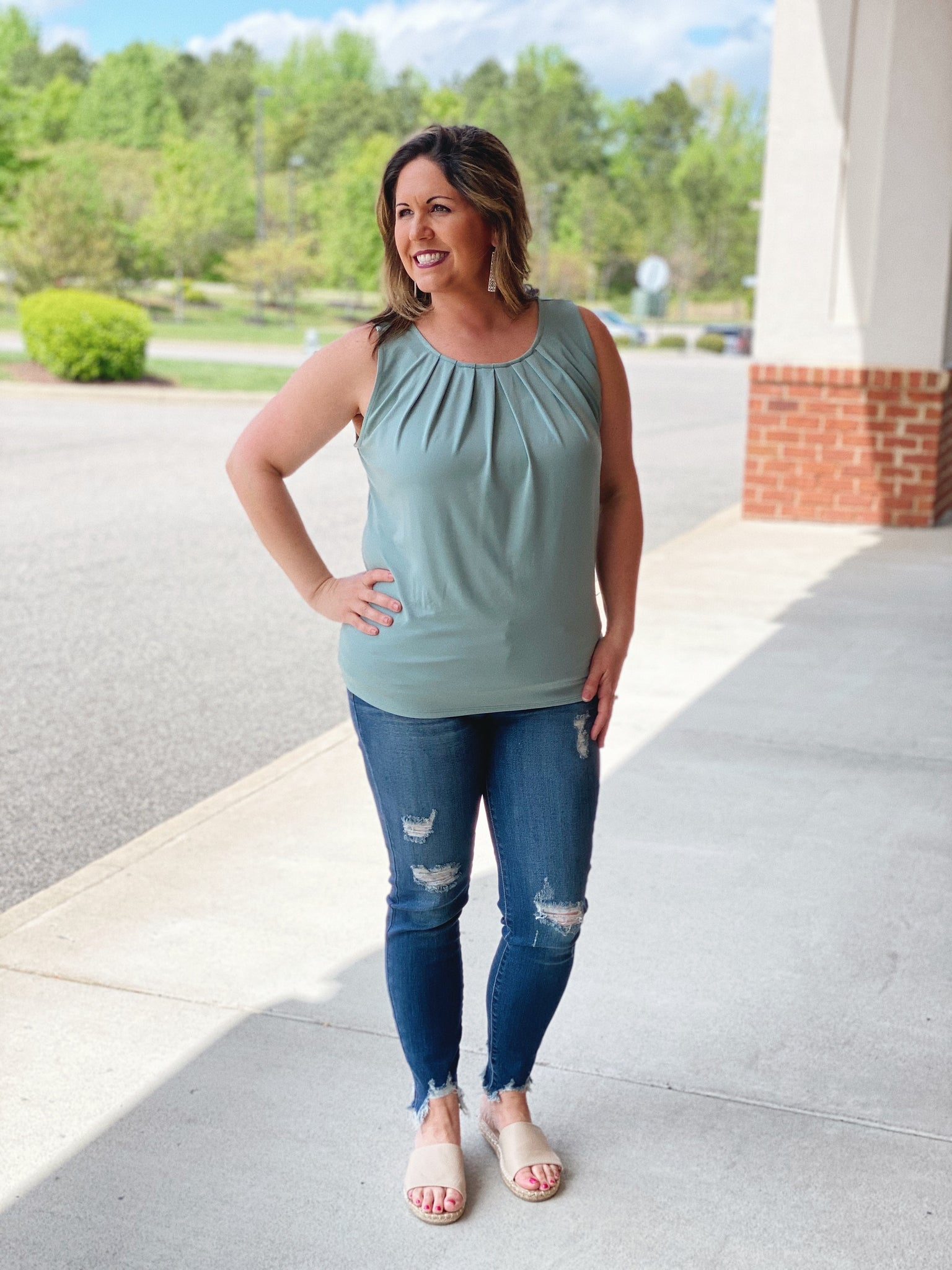 The Megan Pleated Tank in Light Green
