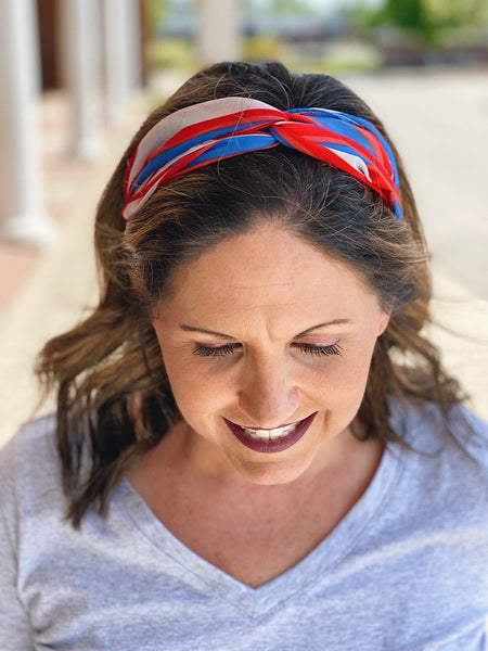 Red, White, & Blue Stripe Twist Headband
