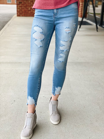 KanCan High Rise Super Skinny Distressed Jeans