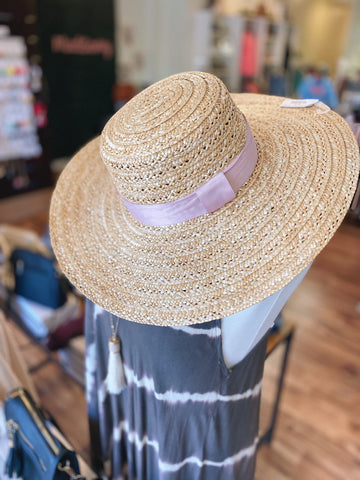 The Beatrice Hat in Tan/Pink