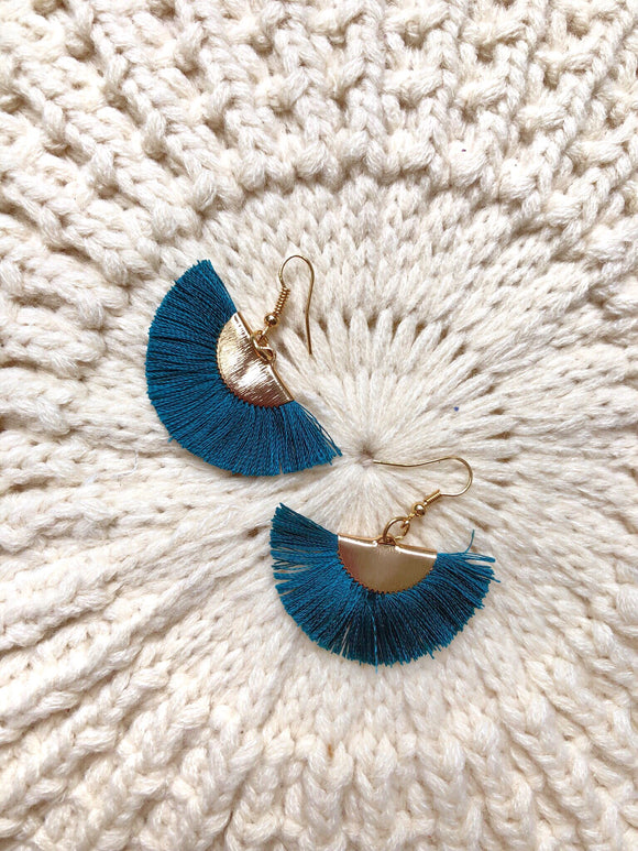 Fan Tassel Earrings Teal