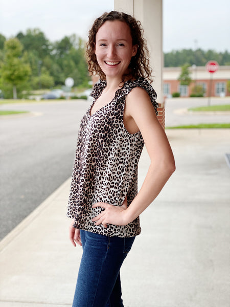 The Vanna Ruffle Sleeve Top in Leopard