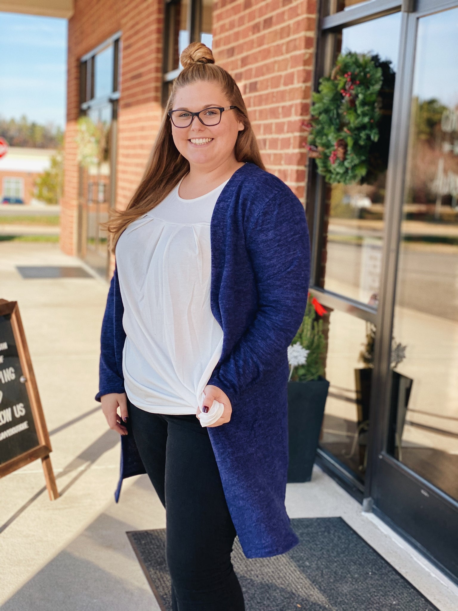 Let's Talk Comfort Cardigan in Navy