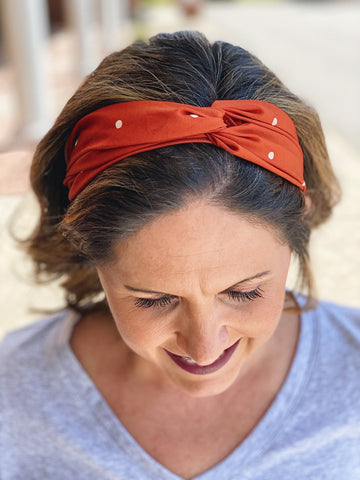 Orange Polka Dot Twist Headband