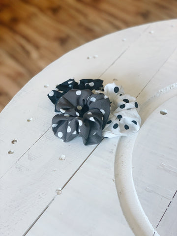 Polka Dot Scrunchie Trio
