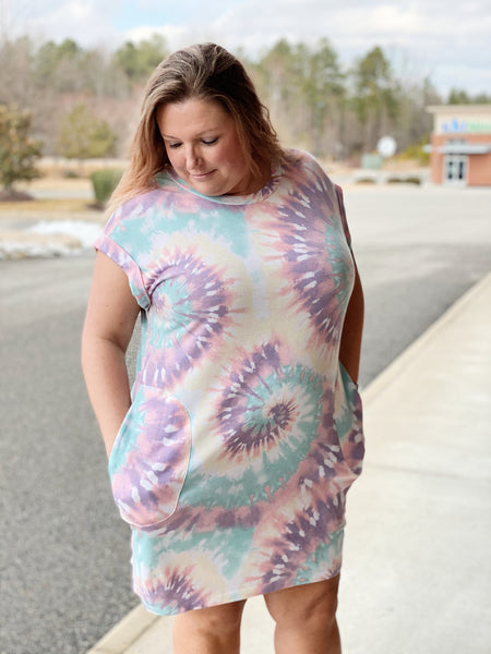 The Taylor Tie Dye Dress in Pink/Multi