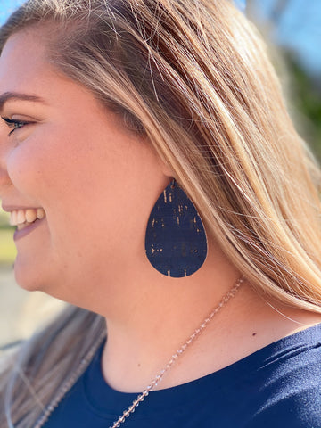 Cork Leather Earrings in Navy
