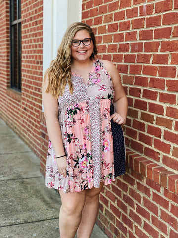 The Kasey Floral Mixed Dress in Blush/Multi