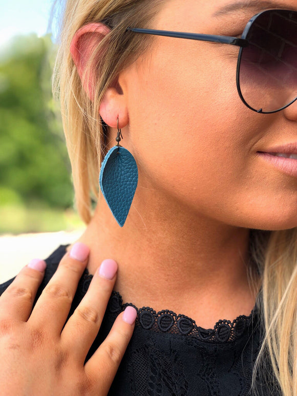 Pinched Leather Petal Earrings Teal