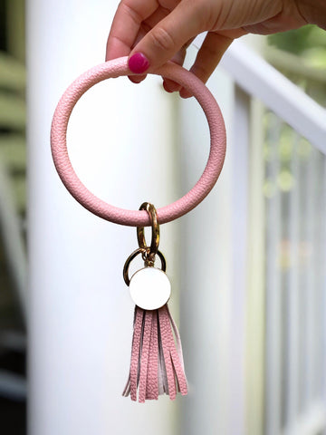 Tassel Key Ring Bracelet in Blush