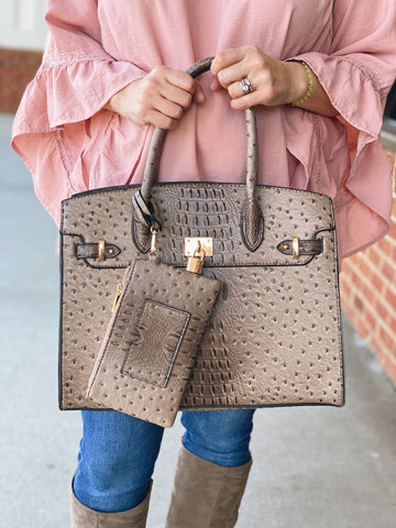 The Renee Faux Crocodile Handbag in Brown