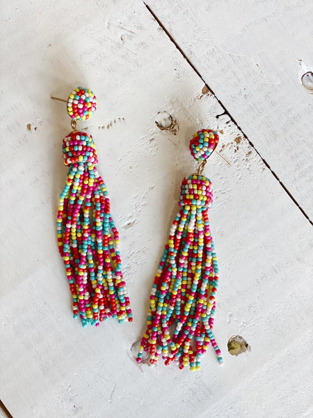 The Inez Beaded Tassel Earrings
