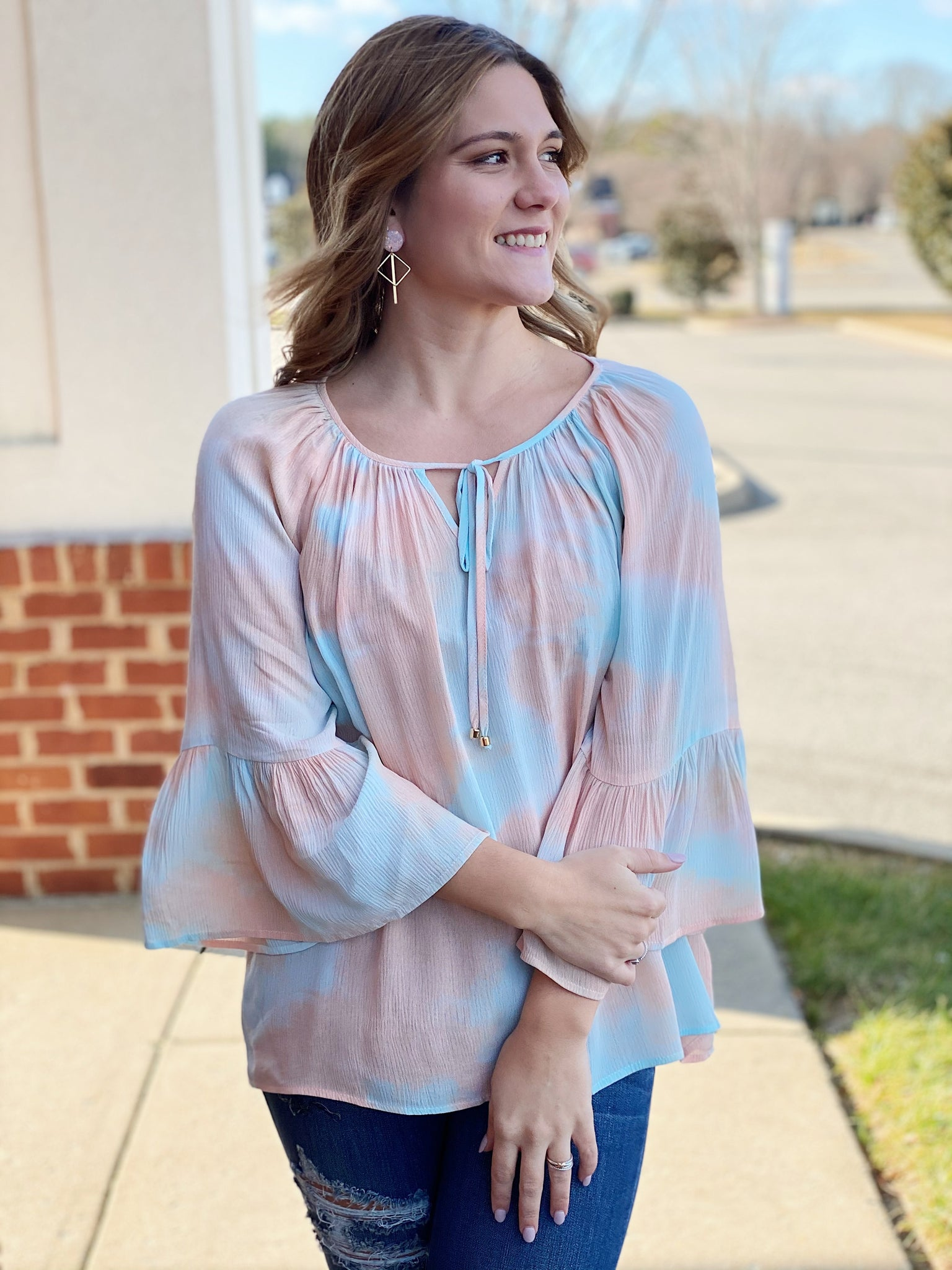 The Reghan Top in Salmon/Mint