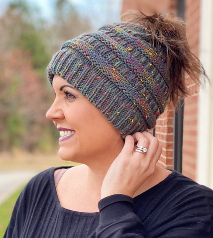 Messy Bun Ponytail Beanie in Charcoal/Multi