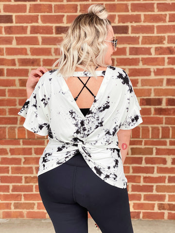 The Kandace Tie Dye Top in Ivory/Black