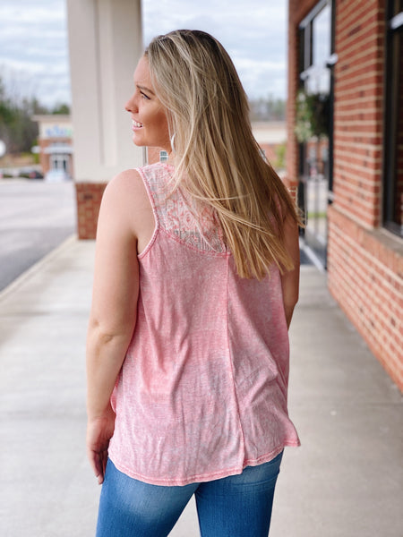 The Hilary Lace Top in Dusty Pink