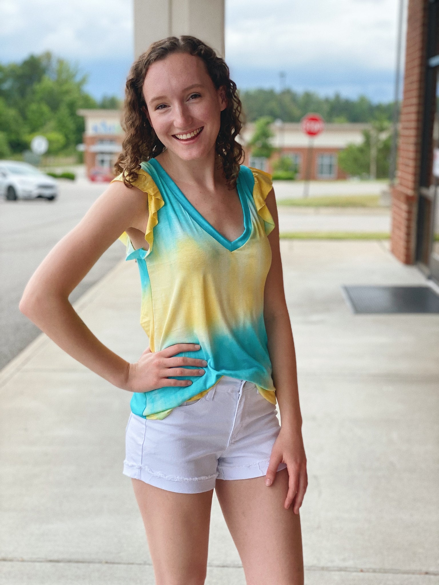 The Raina Ruffle Sleeve Tank Top in Tie Dye