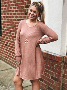 Let's Talk It Over Tunic Dress in Multi/Rust