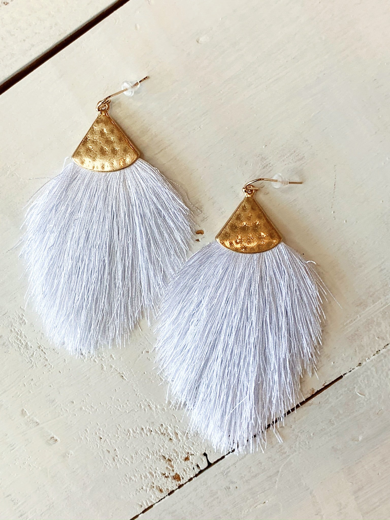 The Cara Tassel Earrings in White