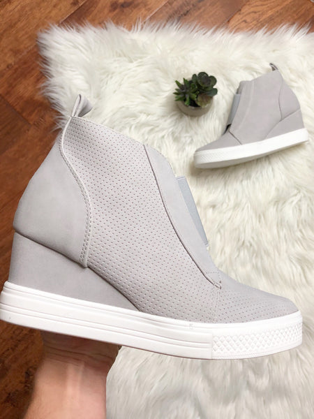 Walk With Me Perforated Sneakers in Grey