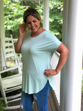 Casual V-Neck Tunic Top In Mint