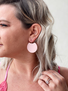 Light Pink Acrylic Crescent Earrings