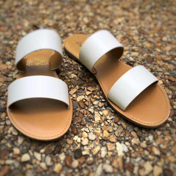 Wide Double Strap Slip On Sandal White