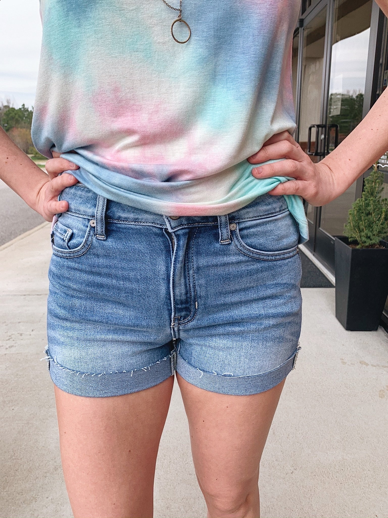 KanCan High Rise Cuffed Denim Shorts