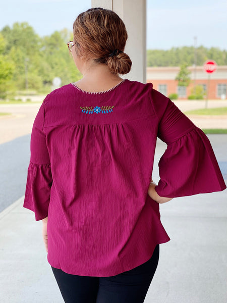 The Madeline Bell Sleeve Top in Burgundy