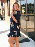 Floral Ruffle Dress In Navy