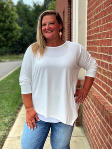Be Your Best Dolman Top In White