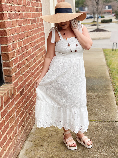 The Sara Eyelet Dress in Off White