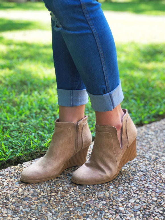 What A Looker Wedge Bootie Taupe