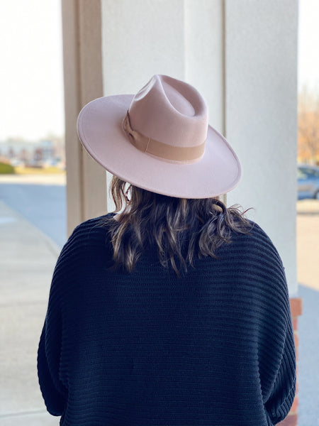 Wide Brim Hat in Taupe