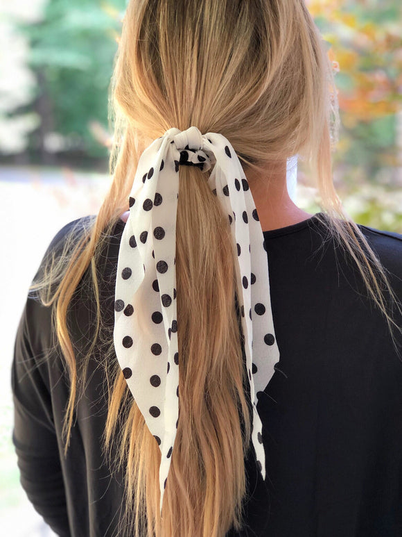 White & Black Polka Dot Scrunchie Scarf