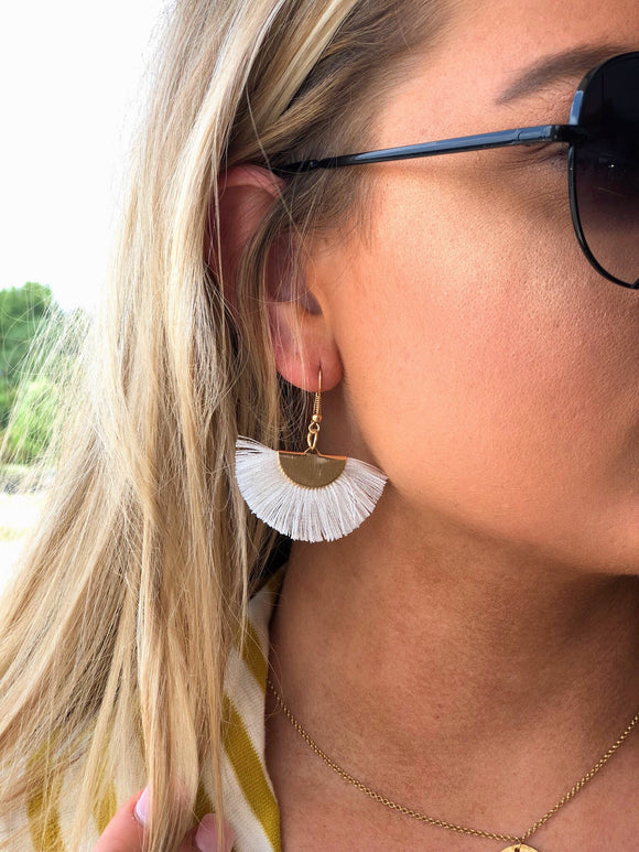 Fan Tassel Earrings White