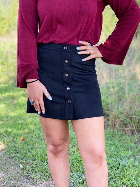 The Regina Suede Skirt in Black