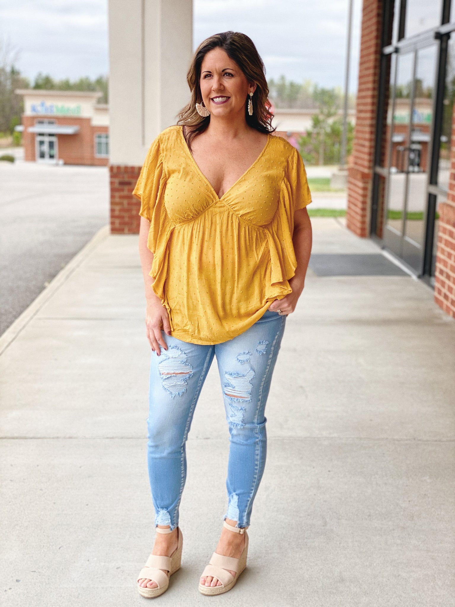 The Genevieve Ruffle Sleeve Top in Mustard