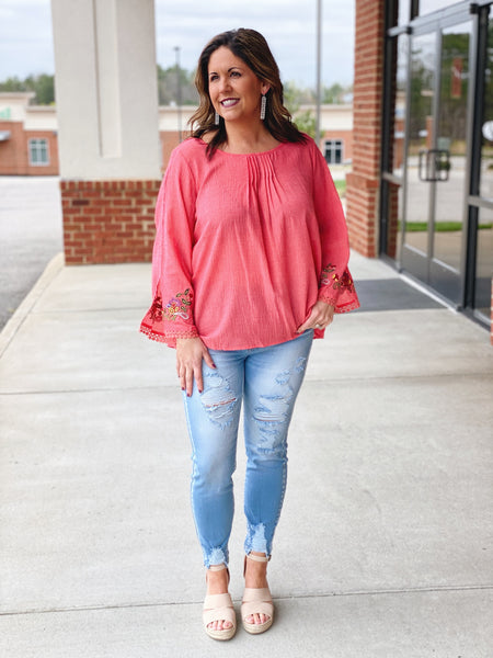 The Gabriela Top in Strawberry